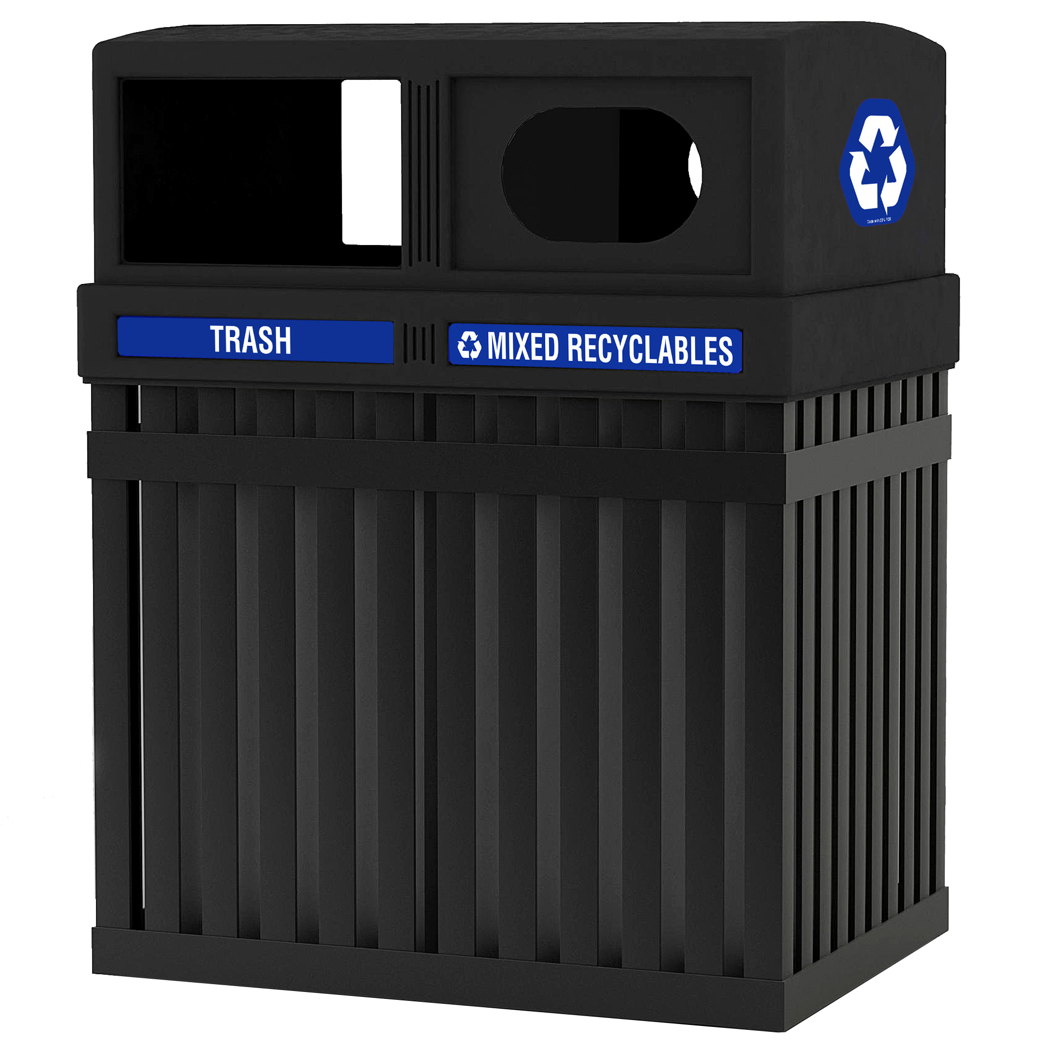archtec parkview double trash and recycle bin outdoor trash receptacles trash cans warehouse. Black Bedroom Furniture Sets. Home Design Ideas
