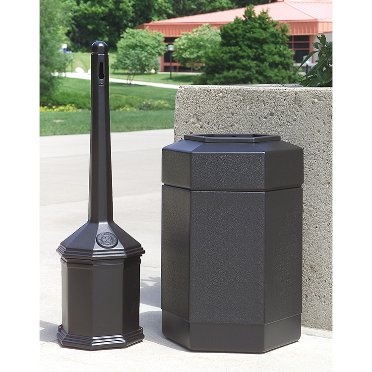 Trash Can Amp Cigarette Receptacle Combo Trashcans Warehouse