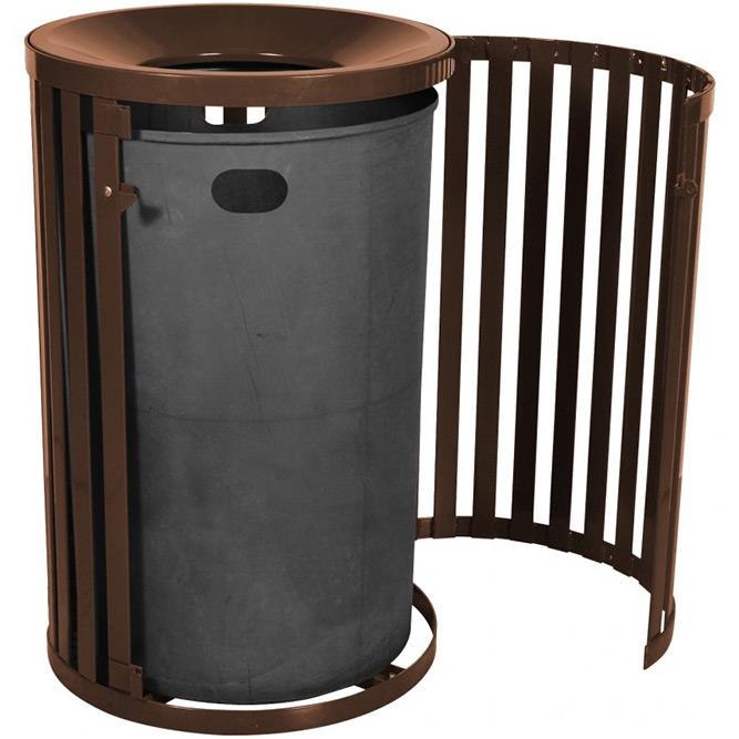Slatted Steel Trash Can Metal Outdoor Trash Receptacles