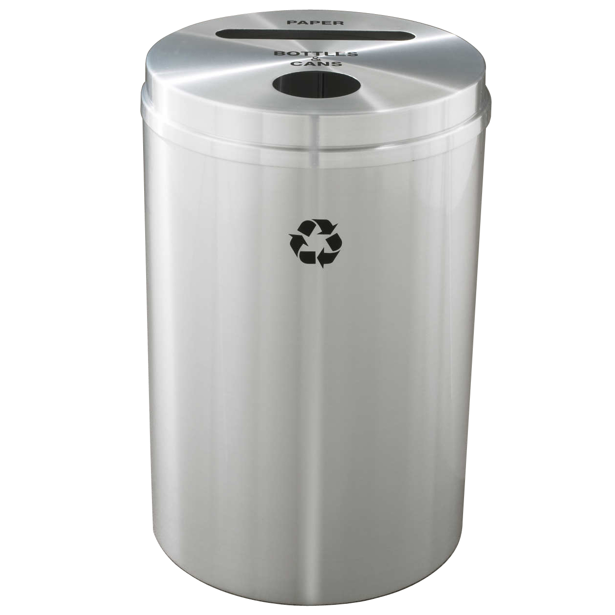 glaro dual purpose waste recycle bin in satin aluminum trash cans warehouse. Black Bedroom Furniture Sets. Home Design Ideas