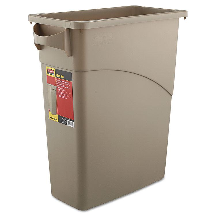 Rubbermaid slim jim waste container with handles trashcans warehouse - Slimline waste bin ...