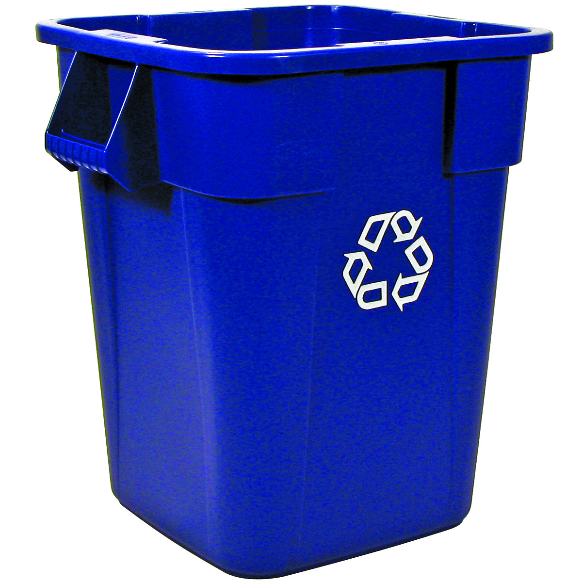 rubbermaid 40 gallon brute square blue recycling container 3536 73 trash cans warehouse. Black Bedroom Furniture Sets. Home Design Ideas