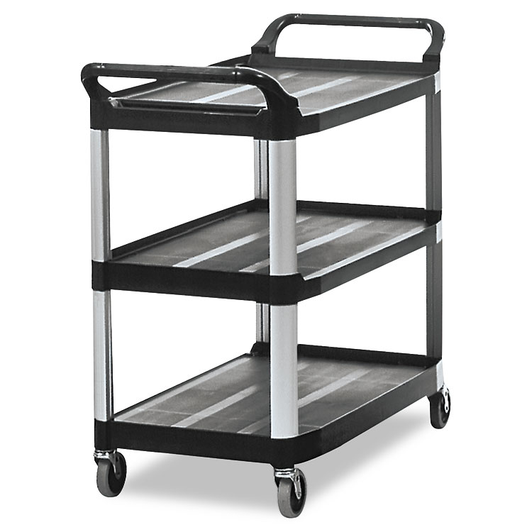3 Shelf Open Sided Rubbermaid Utility Cart Trash Cans