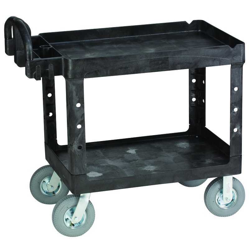 Medium heavy duty lipped shelf utility cart with 8 quot pneumatic casters