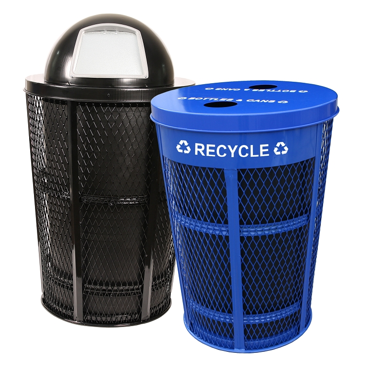2 x 48 96 gallon expanded metal recycling waste combo trash cans warehouse. Black Bedroom Furniture Sets. Home Design Ideas