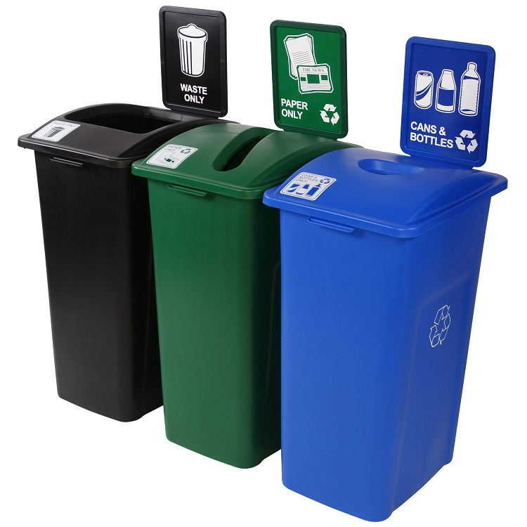Simple Sort Xl 3 Stream Recycling Amp Garbage Cans 3 X 32