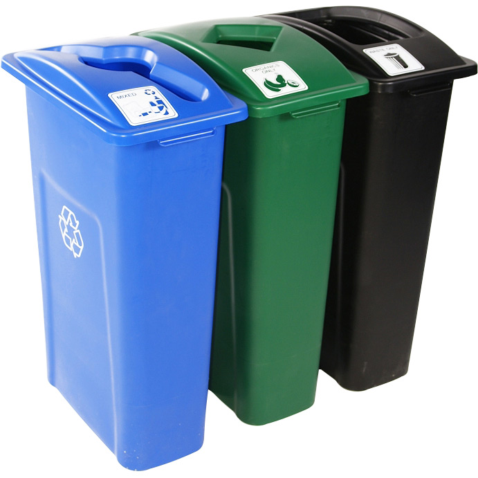waste watcher triple recycling bins trashcans warehouse. Black Bedroom Furniture Sets. Home Design Ideas