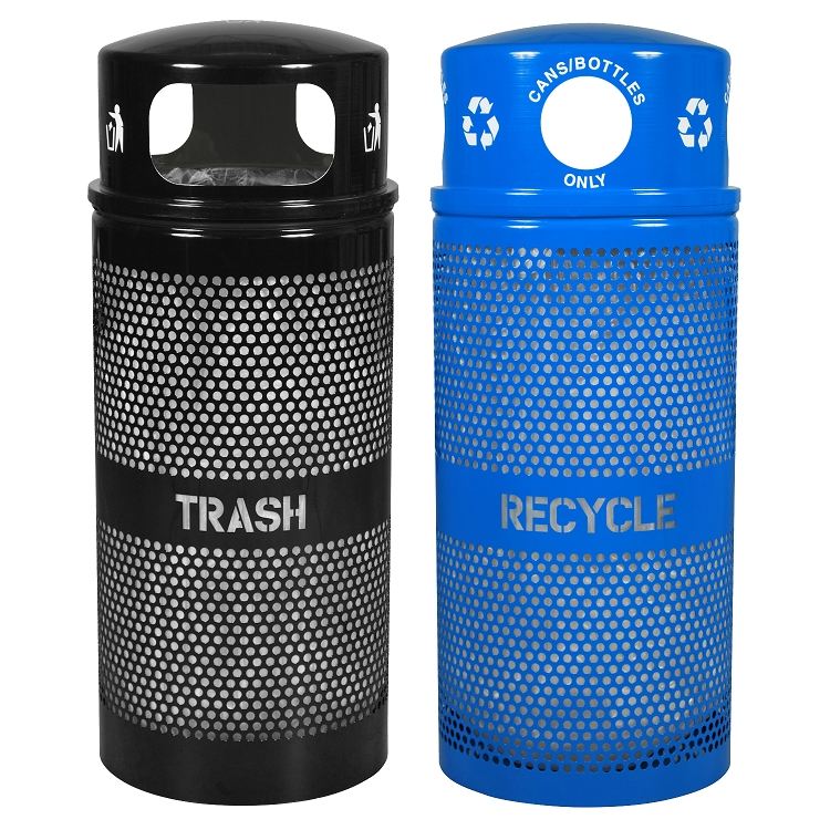 Landscape 2x34 Gallon Recycling Amp Trash Combo Trash Cans