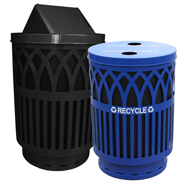 2 x 40 80 gallon covington recycling waste combo trash cans warehouse. Black Bedroom Furniture Sets. Home Design Ideas