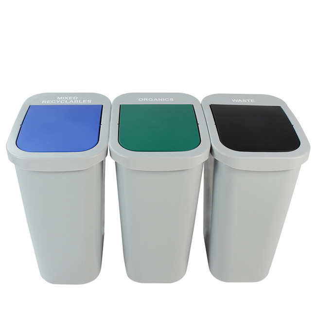30 Gallon Three Stream Deskside Sorter Trash Cans Warehouse