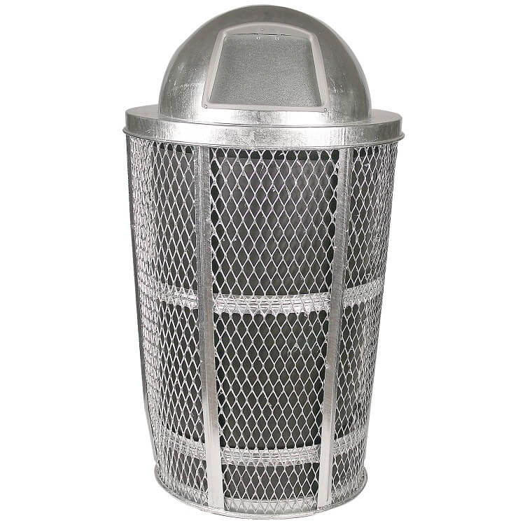 Aluminium Garbage Cans : Wire mesh trash can metal outdoor waste receptacles