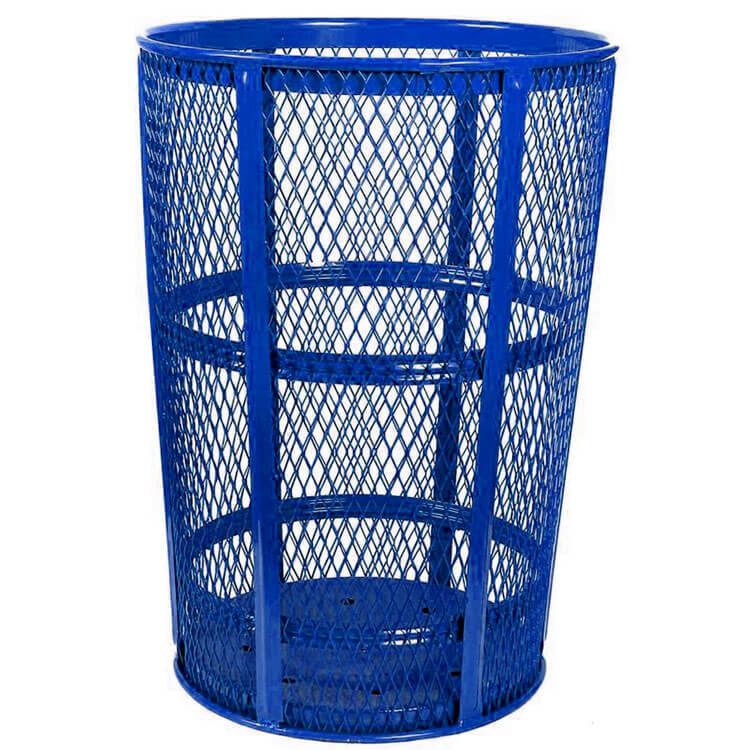 Blue Waste Barrel Tough Metal Mesh Outdoors Trash