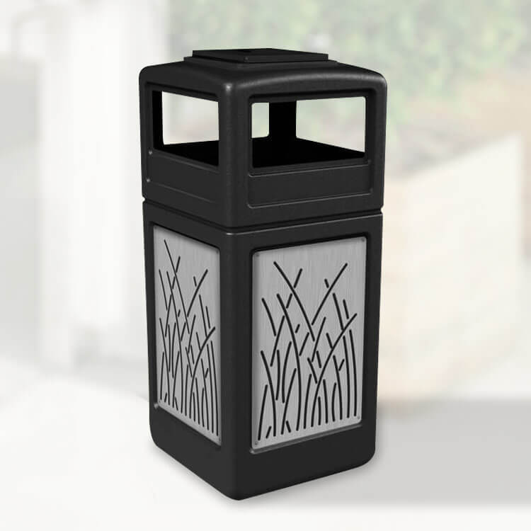 42 Gallon Trash And Ash Bin Stainless Steel Decorative Panels Trash Cans Warehouse