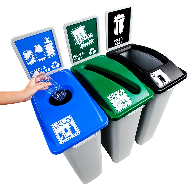 The complete recycling solution. Simple Sort Triple Recycling Station   3 x 20   60 Gallon Bins
