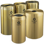 Glaro Waste and Recycling Containers in Satin Brass