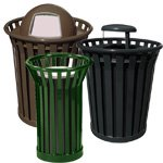Slatted Metal Waste Receptacles