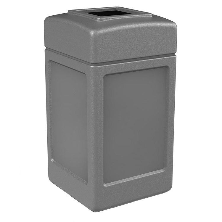 Polytec 42 Gallon Square Open Top Garbage Can Trash Cans Warehouse