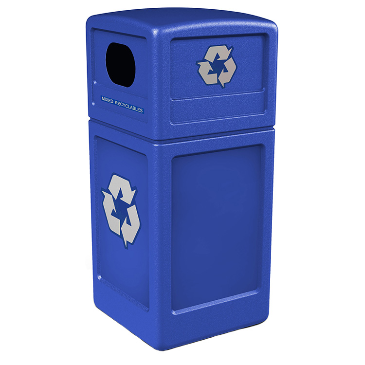 Polytec 42 Gallon Square Blue Indoor Outdoor Recycling Bin
