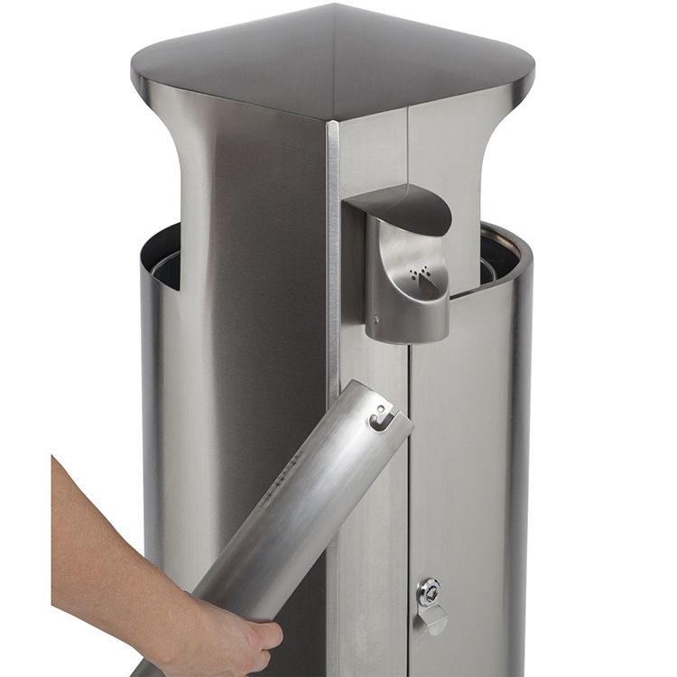 cigarette receptacle attaches easily to any leafview container