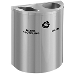 XL Glaro Dual-Purpose Half-Round Satin Aluminum Recycling Barrel