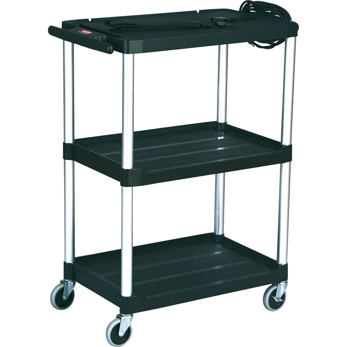 Media Master 3 Shelf Av Cart W 4 Quot Casters Trashcans