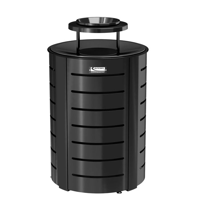 35-Gallon Metal Trash Can with Metal Lid. Outdoor Decorative ... - Buy Metal Trash Can Outdoor Garbage Containers