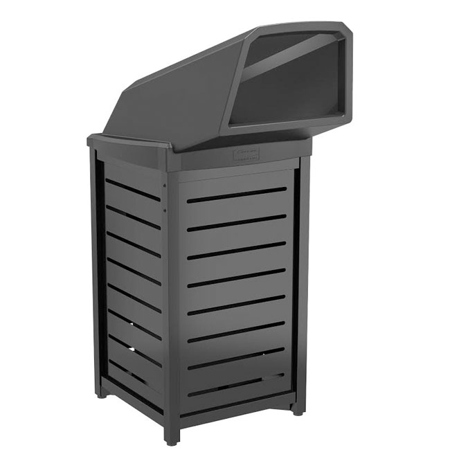 30 gal square with chute lid trash cans warehouse. Black Bedroom Furniture Sets. Home Design Ideas