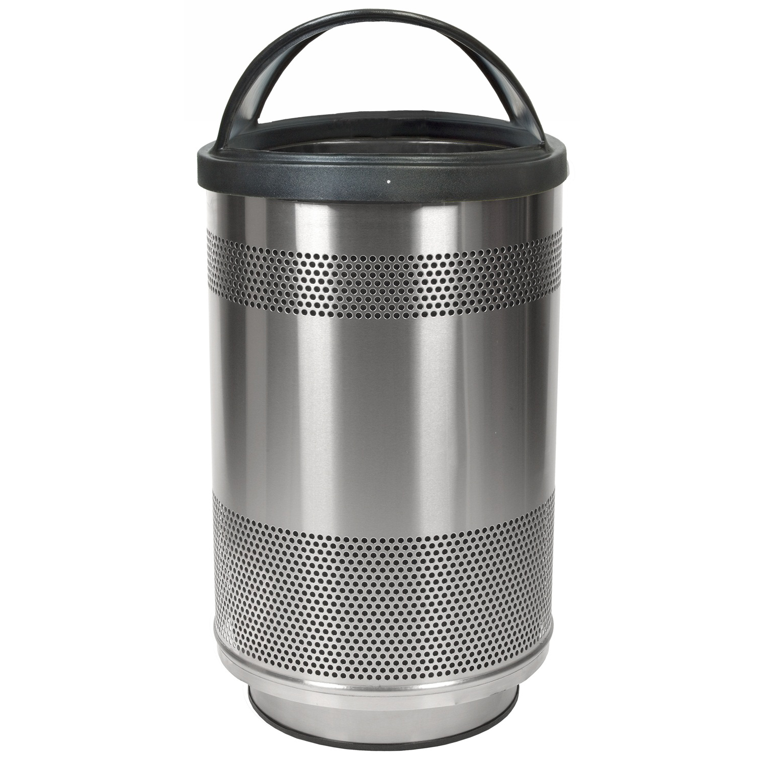 55 gallon perforated steel garbage can w hood top in stainless steel trash cans warehouse. Black Bedroom Furniture Sets. Home Design Ideas