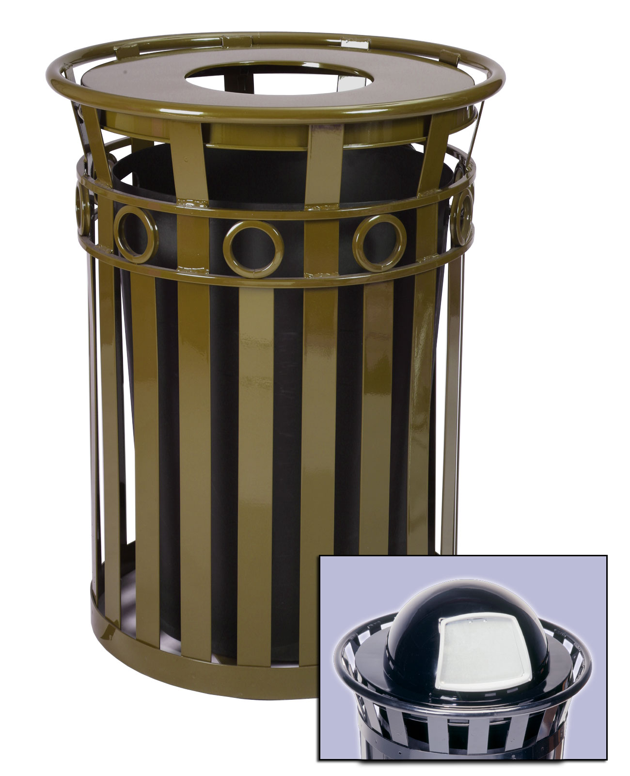 40 gallon oakley decorative outdoor steel trash cans trash cans warehouse. Black Bedroom Furniture Sets. Home Design Ideas