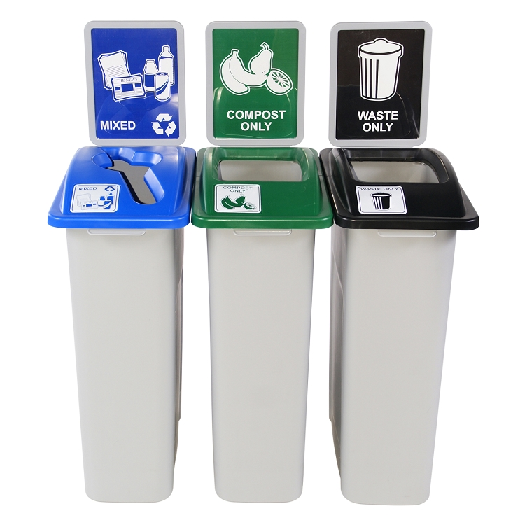 Simple Sort Triple Recycling Station | 3 x 20 = 60 Gallon Bins ...
