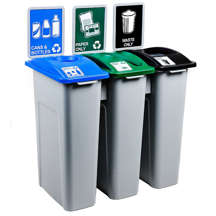 3x23 gallon simple sort triple recycling bins station trash cans warehouse. Black Bedroom Furniture Sets. Home Design Ideas