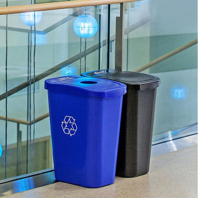 7 gallon two stream deskside combo trash cans warehouse. Black Bedroom Furniture Sets. Home Design Ideas