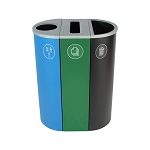 NYC Compliant Spectrum Three-Stream Slim Recycling & Waste Station