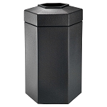 Hex 50 Gallon Trash Container in Black