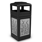 42-Gallon Ashtray Lid Trash Receptacle with Decorative Stainless Steel Panels
