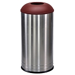 International Open Dome Trash Receptacle in Stainless Steel