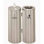 Wipe Dispenser w/Storage and Trash Receptacle Combo Station w/Messages in Satin Aluminum