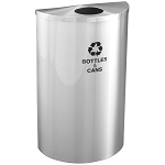 Glaro Half Round Waste and Recycling Container in Satin Aluminum 14 Gallon
