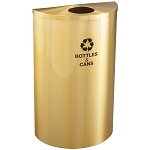 Glaro 14-Gallon Half Round Waste and Recycling Barrel in Satin Brass