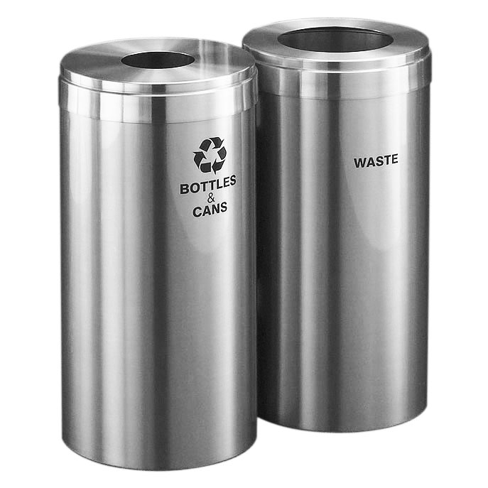 Aluminium Garbage Cans : Dual garbage can trash recycle bin combo