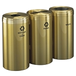 15-Gallon Glaro Three-Stream Waste and Recycling Station in Satin Brass