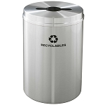Glaro 33 Gallon Single Purpose Waste and Recycling Container in Satin Aluminum