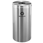 Glaro 16 Gallon Single Purpose Waste and Recycling Container in Satin Aluminum