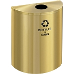 Glaro Single-Purpose XL Half-Round Satin Brass Recycling Barrel