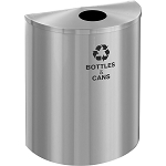 Glaro XL 1/2-Round Single-Purpose Recycling Barrel in Satin Aluminum