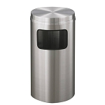 New Yorker Satin Aluminum 10 Gallon Waste Receptacle w/Flat Top