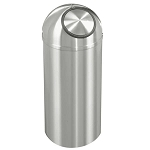 New Yorker Satin Aluminum 8 Gallon Waste Receptacle w/Self-Closing Dome-Top