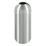 New Yorker Satin Aluminum 8 Gallon Waste Receptacle w/Open Dome Top