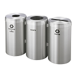41-Gallon Glaro Three-Stream Waste and Recycling Station in Satin Aluminum