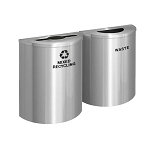 Glaro XL Half-Round Satin Aluminum Double Waste & Recycling Station